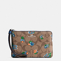 CORNER ZIP WRISTLET IN FLORAL LOGO PRINT COATED CANVAS - f57588 - SILVER/KHAKI BLUE MULTI