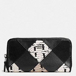 COACH F57591 Accordion Zip Wallet With Snake Embossed Patchwork ANTIQUE NICKEL/BLACK MULTI