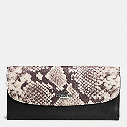 COACH F57592 Soft Wallet With Snake Embossed Leather Trim ANTIQUE NICKEL/BLACK MULTI