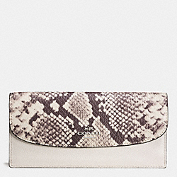 COACH F57592 Soft Wallet With Snake Embossed Leather Trim SILVER/CHALK MULTI