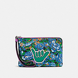 COACH F57595 Corner Zip Wristlet In Rose Meadow Floral Print Coated Canvas SILVER/BLUE MULTI