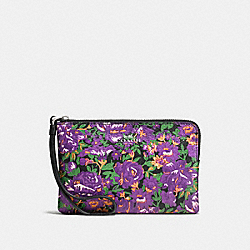 CORNER ZIP WRISTLET IN ROSE MEADOW FLORAL PRINT COATED CANVAS - f57595 - SILVER/VIOLET MULTI