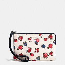 COACH F57596 Corner Zip Wristlet In Tea Rose Floral Print Coated Canvas SILVER/CHALK MULTI