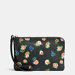 COACH F57596 Corner Zip Wristlet In Tea Rose Floral Print Coated Canvas SILVER/BLACK MULTI