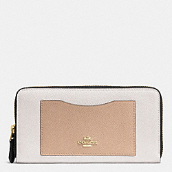 COACH F57605 Accordion Zip Wallet In Geometric Colorblock Crossgrain Leather IMITATION GOLD/CHALK FOG MULTI