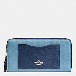 COACH F57605 Accordion Zip Wallet In Geometric Colorblock Crossgrain Leather SILVER/MIDNIGHT BLUE MULTI