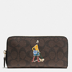 COACH F57607 Bonnie Cashin Accordion Zip Wallet IMITATION GOLD/BROWN/BLACK