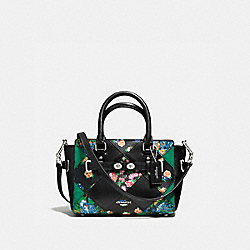 COACH F57610 Mini Blake Carryall In Floral Patchwork Leather SILVER/BLACK MULTI