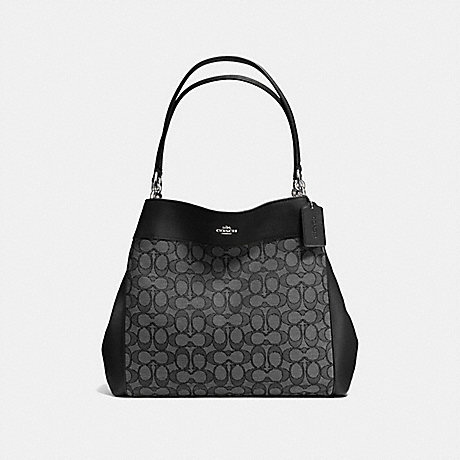 COACH f57612 LEXY SHOULDER BAG IN OUTLINE SIGNATURE SILVER/BLACK SMOKE/BLACK