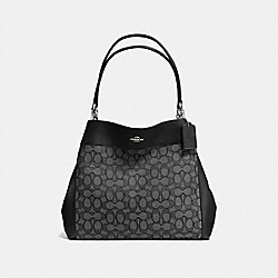 COACH F57612 - LEXY SHOULDER BAG IN OUTLINE SIGNATURE SILVER/BLACK SMOKE/BLACK