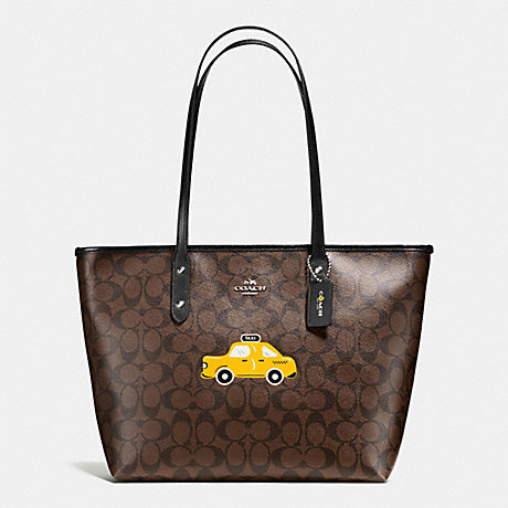 COACH F57615 NYC TAXI CITY ZIP TOTE IN SIGNATURE SILVER/BROWN/BLACK