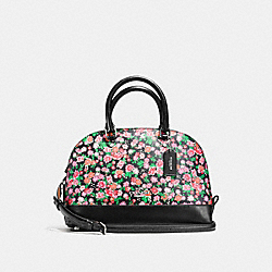 COACH F57621 Mini Sierra Satchel In Posey Cluster Floral Print Coated Canvas SILVER/PINK MULTI