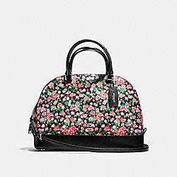 SIERRA SATCHEL IN POSEY CLUSTER FLORAL PRINT COATED CANVAS - f57622 - SILVER/PINK MULTI