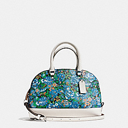 COACH F57623 Mini Sierra Satchel In Rose Meadow Floral Print Coated Canvas SILVER/BLUE MULTI