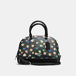 COACH F57624 Mini Sierra Satchel In Tea Rose Floral Print Coated Canvas SILVER/BLACK MULTI