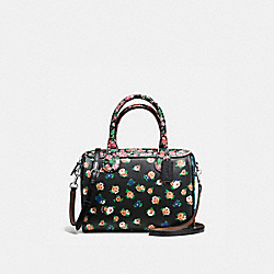 MINI BENNETT SATCHEL IN FLORAL MIX PRINT COATED CANVAS - f57626 - SILVER/MULTICOLOR