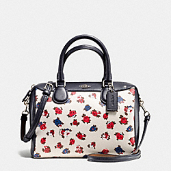 COACH F57627 Mini Bennett Satchel In Tea Rose Floral Print Coated Canvas SILVER/CHALK MULTI