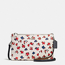 COACH LYLA CROSSBODY IN TEA ROSE FLORAL PRINT COATED CANVAS - SILVER/CHALK MULTI - F57628