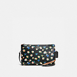 LYLA CROSSBODY IN TEA ROSE FLORAL PRINT COATED CANVAS - f57628 - SILVER/BLACK MULTI