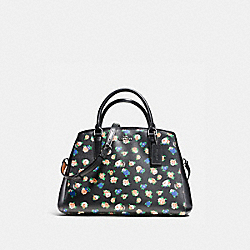 SMALL MARGOT CARRYALL IN TEA ROSE FLORAL PRINT COATED CANVAS - f57629 - SILVER/BLACK MULTI