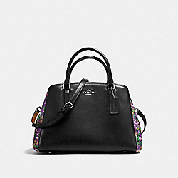 COACH F57630 Small Margot Carryall In Rose Meadow Floral Print Coated Canvas SILVER/BLACK VIOLET MULTI