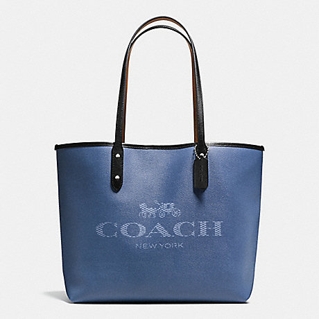 COACH f57634 CITY TOTE IN DENIM WITH HORSE AND CARRIAGE SILVER/DENIM BLACK MULTI