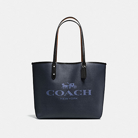 COACH f57634 CITY TOTE IN DENIM WITH HORSE AND CARRIAGE SILVER/DARK DENIM PINK MULTI