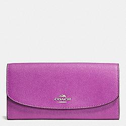 COACH F57644 Slim Envelope Wallet In Rose Meadow Floral Print Leather SILVER/HYACINTH MULTI