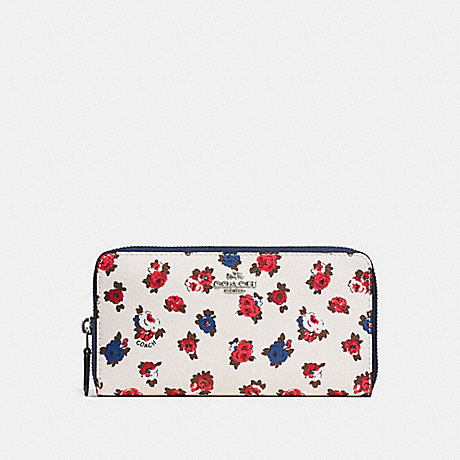 COACH f57649 ACCORDION ZIP WALLET WITH TEA ROSE FLORAL PRINT CHALK  MULTI SILVER eaf0325e0d