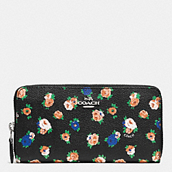 ACCORDION ZIP WALLET IN TEA ROSE FLORAL PRINT COATED CANVAS - f57649 - SILVER/BLACK MULTI