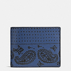 COACH F57653 - 3-IN-1 WALLET IN BANDANA PRINT CANVAS INDIGO/BLACK BANDANA