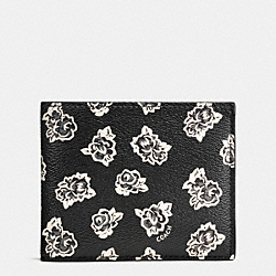 3-IN-1 WALLET IN FLORAL PRINT COATED CANVAS - f57654 - BLACK/WHITE FLORAL