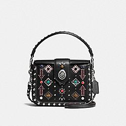 PAGE CROSSBODY WITH ALLOVER WESTERN RIVETS - f57658 - SILVER/BLACK MULTI