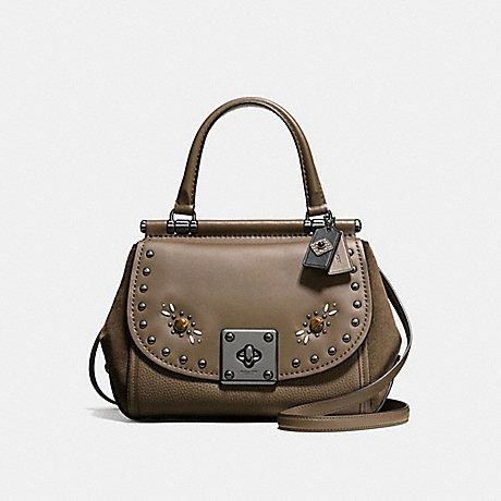 COACH F57659 DRIFTER TOP HANDLE IN GLOVETANNED LEATHER WITH WESTERN RIVETS DARK-GUNMETAL/FATIGUE