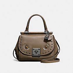 DRIFTER TOP HANDLE IN GLOVETANNED LEATHER WITH WESTERN RIVETS - f57659 - DARK GUNMETAL/FATIGUE