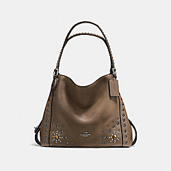 EDIE SHOULDER BAG 31 WITH WESTERN RIVETS - f57660 - Fatigue/Dark Gunmetal