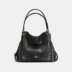 COACH F57660 - EDIE SHOULDER BAG 31 IN POLISHED PEBBLE LEATHER WITH WESTERN RIVETS SILVER/BLACK