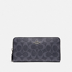 COACH F57665 Accordion Zip Wallet In Signature Canvas DENIM MIDNIGHT/SILVER
