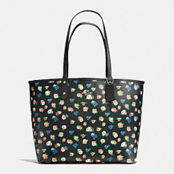 REVERSIBLE CITY TOTE IN TEA ROSE FLORAL PRINT COATED CANVAS - f57668 - SILVER/BLACK MULTI BLACK