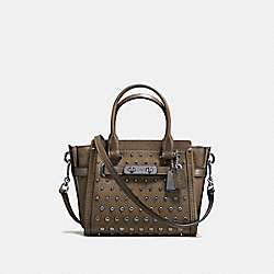 COACH SWAGGER 21 IN PEBBLE LEATHER WITH OMBRE RIVETS - f57696 - DARK GUNMETAL/FATIGUE