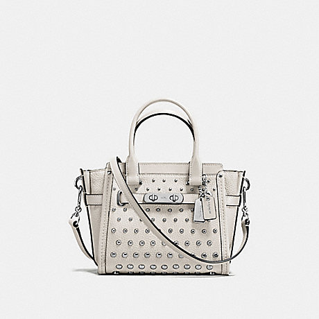 COACH F57696 COACH SWAGGER 21 IN PEBBLE LEATHER WITH OMBRE RIVETS SILVER/CHALK