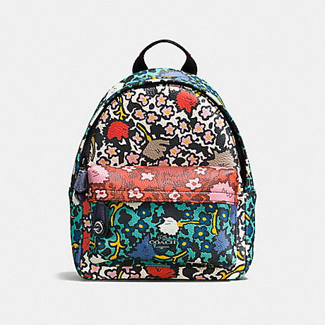 COACH f57702 MINI CAMPUS BACKPACK WITH MULTI FLORAL PRINT Teal Yankee Floral Multi/Dark Gunmetal