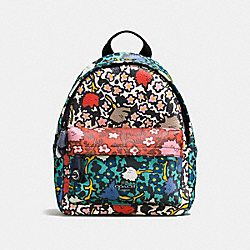MINI CAMPUS BACKPACK WITH MULTI FLORAL PRINT - f57702 - Teal Yankee Floral Multi/Dark Gunmetal