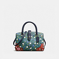 COACH F57703 Mercer Satchel 24 With Multi Floral Print TEAL YANKEE FLORAL MULTI/DARK GUNMETAL