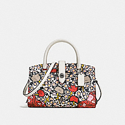 MERCER SATCHEL 24 IN POLISHED PEBBLE LEATHER WITH MULTI FLORAL PRINT - f57703 - DARK GUNMETAL/CHALK YANKEE FLORAL MULTI