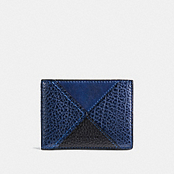 COACH F57706 Slim Billfold Wallet In Canyon Quilt Leathe BLUE MULTI