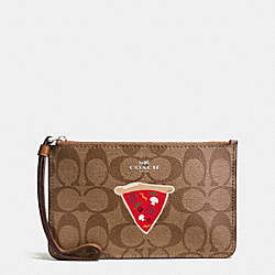 COACH F57709 Nyc Pizza Small Wristlet In Signature SILVER/KHAKI/SADDLE