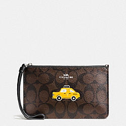COACH F57710 Nyc Taxi Small Wristlet In Signature SILVER/BROWN/BLACK