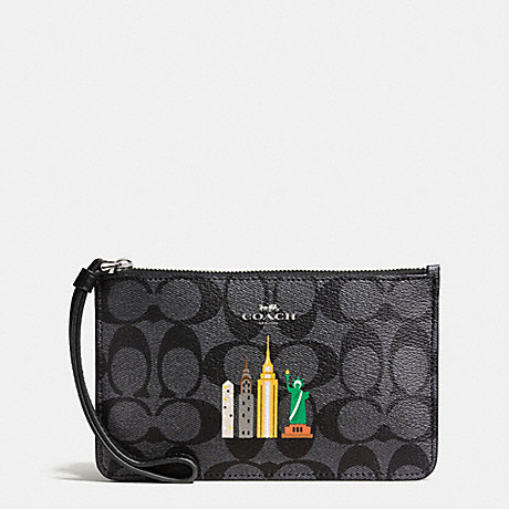 Coach F57711 Nyc Skyline Small Wristlet In Signature