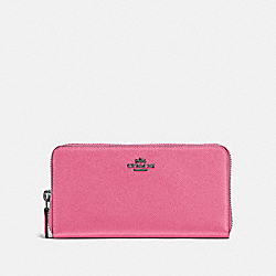 ACCORDION ZIP WALLET - F57713 - BRIGHT PINK/DARK GUNMETAL